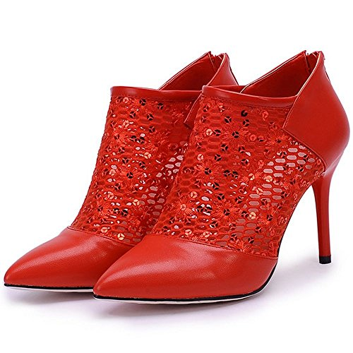 LongFengMa Fashion Women Stiletto Boots Pumps Lace Heels Zip Closure Red HuqaNw