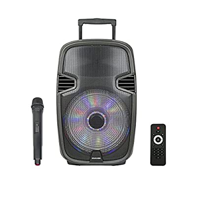 STARQUEEN Portable Outdoor Bluetooth PA Speaker System, with Wireless Microphone and Party Lights for Karaoke, USB/SD/FM Radio Function, Luggage Handle & Wheels by STARQUEEN