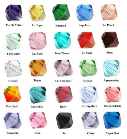 Bulk Swarovski Crystal Beads (Wholesale lot 500 Bicone 4mm Swarovski #5328 Crystal Beads 25colors)