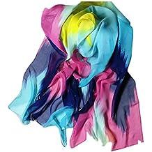 Chiffon Scarf, Sothread Women Printing Ink Painting Style Soft Scarves Shawl Scarf Wrap (Blue)