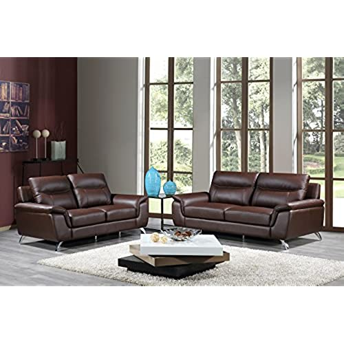 Cortesi Home Chicago Genuine Leather Sofa U0026 Loveseat Set, Brown