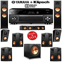 Klipsch RP-250F 7.1.2 Reference Premiere Dolby Atmos Home Theater System with Yamaha RX-A2060BL 9.2-Ch A/V Receiver