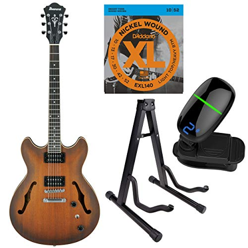 Ibanez Artcore Series Hollow-Body Electric Guitar with Strings, Tuner & Stand (AS53TF, Tobacco Flat)