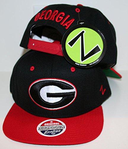 Georgia Bulldogs Black/Red Apex Snapback Hat