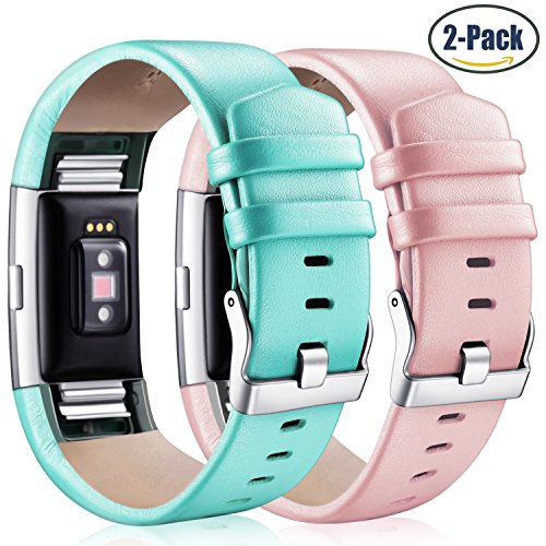 Hotodeal Fitbit Charge 2 Leather Bands, Genuine Leather Charge 2 Replacement Band, Charge 2 Accessories Band, Fashion Fitness Strap, Pack of 2 (Teal+Pink)