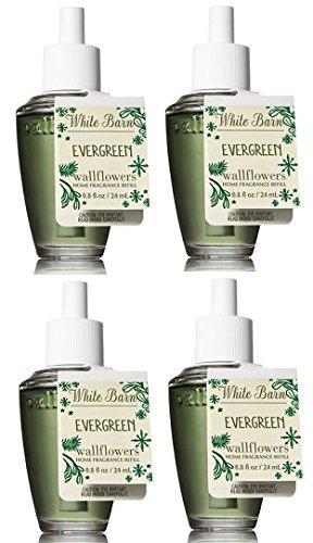 Bath and Body Works 4 Pack Evergreen Wallflower Fragrance Refill 0.8 Oz