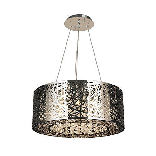 Worldwide Lighting W83143C24 12-Light Aramis LED Round Chandelier with Clear Crystal, 24 x 8, Chrome (House Lighting Provence Chandelier Light)