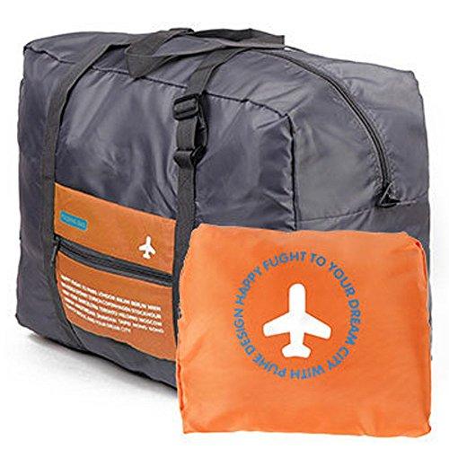 Wandf Foldable Travel Duffel Bag Luggage Sports Lightweight Gym Water Resistant Nylon (32L, Orange)