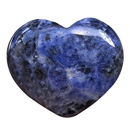 favoramulet Natural Sodalite Heart Stone, Polished Palm Worry Love Pocket Stones Healing Crystal 1.7″