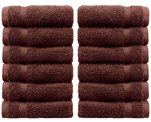 - White Classic Luxury Washcloths - Hotel Spa Collection | Circlet Egyptian Cotton | Absorbent Large Bathroom Face Towel | 13x13 Inch | Set of 12 | Brown