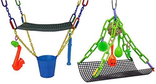 Rockin Maraca Swing & Jazzy Upside Down Swing Toy Bundle for sugar gliders ()