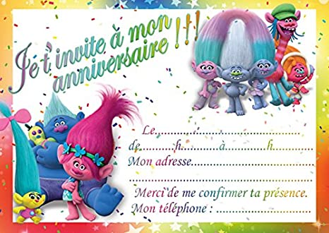 10 Cartes Invitation Anniversaire Trolls In French Avec Des