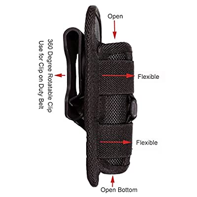 Ultrafire Tatical Flashlight Holster Pouch Elastic Strap Duty Belt Carry Case with 360 Degree Rotable Clip Holster