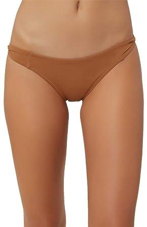 76f17fb87f7dc O'Neill Women's Solid Twist Side Tab Hipster Bikini Swimsuit Bottom  (Coconut Shell,