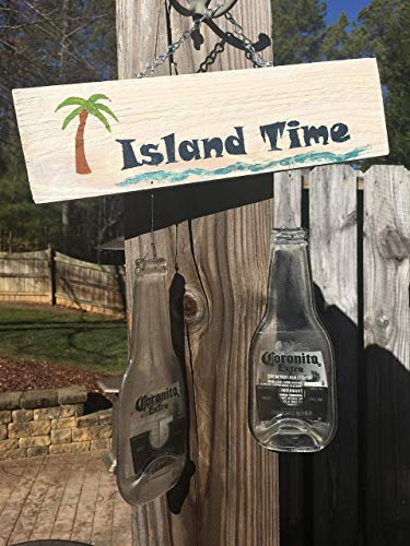 (Island Time Beer Chimes - Hand painted plaque with slumped Coronita bottles)