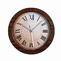 Usany 5 inch Round Desk Clocks Table Clock 3D Retro Do the Old Rivets Alarm Clock Creative Wood Clock Antique Sit Clock Bell