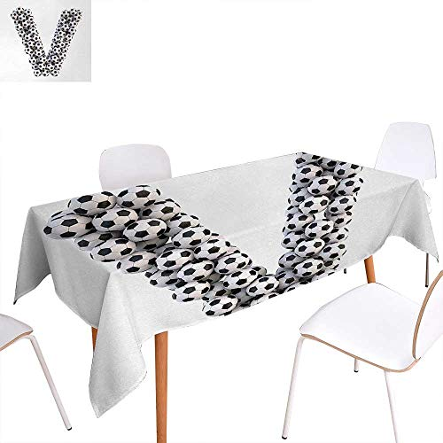 """Warm Family Letter V Patterned Tablecloth Diagonal Stripe Design Alphabet Symbol V Sport Themed Match Day Arrangement Dust-Proof Oblong Tablecloth 50""""x80"""" Black and White from Warm Family"""