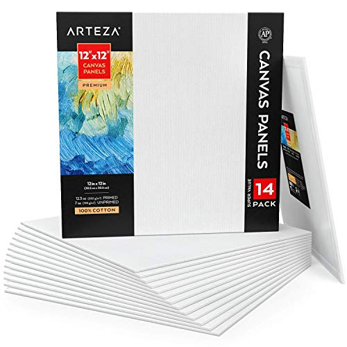 """Arteza Paneles De Lienzo En Blanco, 12""""x12"""" (30,5 X 30,5 Cm), Pack De 14, 100% Algodón, Imprimación 350 Gsm, Sin ácido…"""