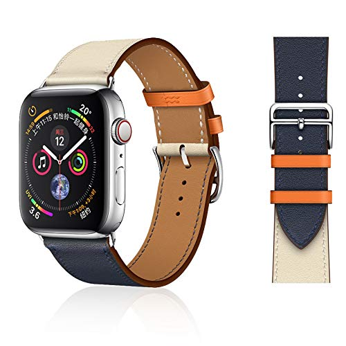 UooFrom Leather Band Compatible with Apple Watch Band 38mm 40mm 42mm 44mm, Luxury Genuine Leather Bands Replacement for iWatch Series 5/4/3/2/1 (Indigo Craie Orange, 42mm(S1、S2、S3)/44mm(S4、S5))