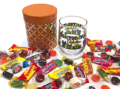 (Wine Candy Set - Happy Birthday Cake and Candy Gifts - Gift Baskets - Stemless Birthday Wine Glass Filled with Premium Candies - Packed in a Gift Box (Birthday - Orange, Stemless, with Candy))