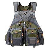 Flygo Multi-Pockets Fly Bass Fishing Vest Pack for Outdoor Activities, Adjutable Size for Men/Women (Army Green (Foam Style), One Size)