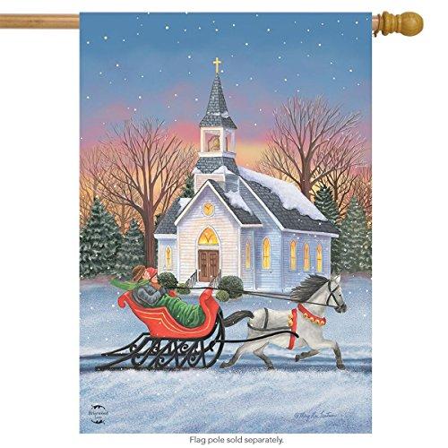 Briarwood Lane One Horse Open Sleigh Christmas House Flag Winter Church 28
