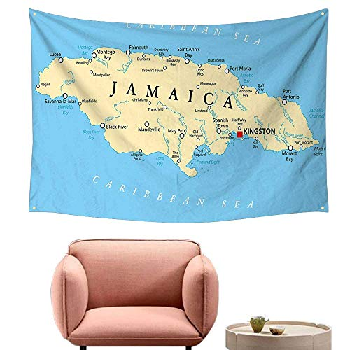 Agoza Tapestry Wall Hanging Jamaican Map of Jamaica Kingston Caribbean Sea Important Locations in Country Occlusion Cloth Painting 71