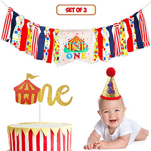 Circus Carnival Theme 1st Birthday Decorations Kit Set