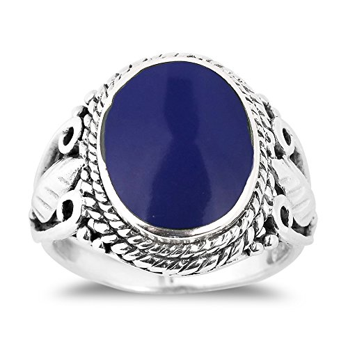 (AeraVida Vintage Inspired Round Recontructed Lapis-Lazuli Nature .925 Sterling Silver Ring (8))