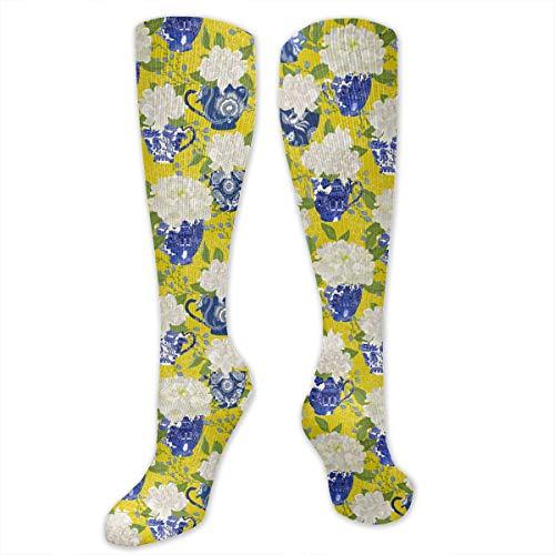 Blue And White Porcelain Vase Flower Unisex Knee High Sports Athletic Socks Tube Long Stockings