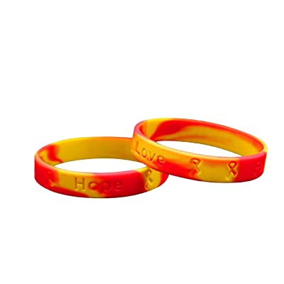 Fundraising For A Cause | Red & Yellow Awareness Ribbon Silicone Bracelets – Inexpensive Red & Yellow Rubber Wristband for Coronavirus (COVID-19) & Hepetatis C Awareness (Pack of 50): Toys & Games