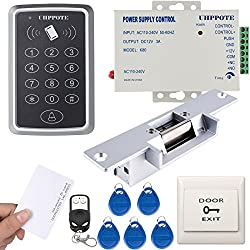 UHPPOTE 125KHz RFID EM ID Keypad Single Door Access Control Kit With Strike Lock Remote Exit Button