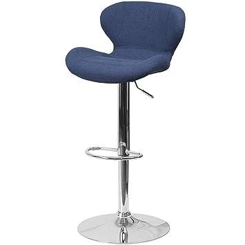 Pleasing Amazon Com Efd Swivel Bar Stool With Blue Fabric Upholstery Cjindustries Chair Design For Home Cjindustriesco