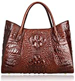 PIJUSHI Women Handbags Crocodile Top Handle Bag Designer Satchel Bags For Women (22198 Coffee)
