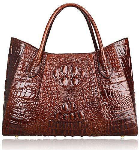 PIJUSHI Women Handbags Crocodile Top Handle Bag Designer Satchel Bags For Women (22198 Coffee) ()