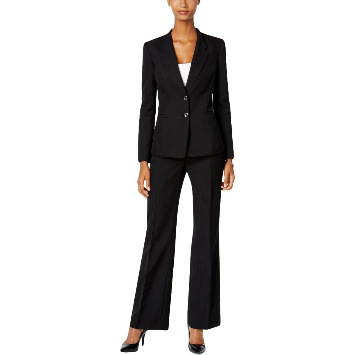 Tahari Womens Petites 2PC 2 Button Pant Suit Black 4P by Tahari