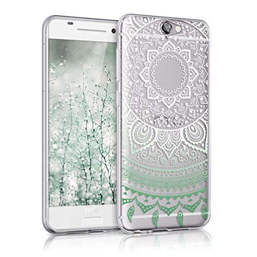 kwmobile TPU Silicone Case for HTC One A9 - Crystal Clear Smartphone Back Case Protective Cover - Mint/White/Transparent