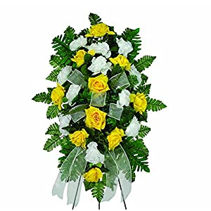 Sympathy Silks Yellow Diamond Rose and White Carnations 12