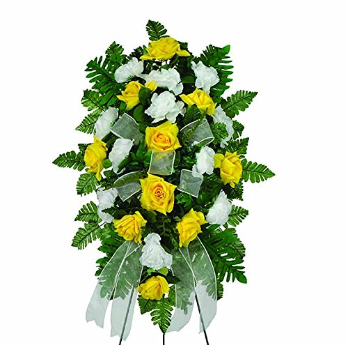 Spray Funeral - Sympathy Silks Yellow Diamond Rose and White Carnations