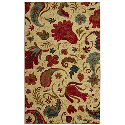 Mohawk Home Strata Tropical Acres Paisley Floral Printed Area Rug, 5'x8',  Beige (Area 5x8 Rugs Tropical)