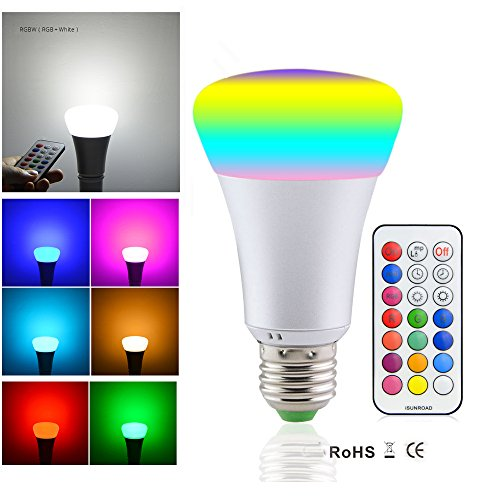 RAYWAY RGBW LED Light Bulb 10W E26 Color Changing Dimmable RGB LED Bulbs Daylight 6000k Mood Lamp with Wireless Remote for Valentines Day Party KTV Decoration