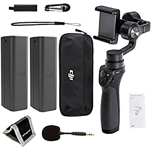 DJI Phone Camera Gimbal OSMO MOBILE, Spare DJI Osmo Intelligent Battery, DJI FM-15 Flexi Microphone Polaroid, Memory Card Wallet and Accessory Bundle