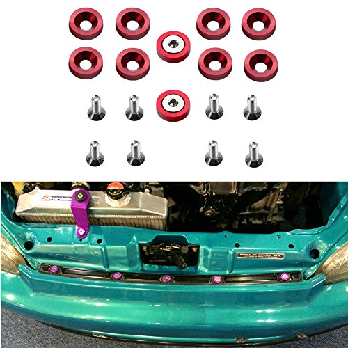DEWHEL 10PC Red Aluminum Fender Bumper Engine Dress Up Washer Bolts Screw Kit DM Fit GM Ford Honda BMW Mitsubishi Acura (Bolts Engine Dress Up)