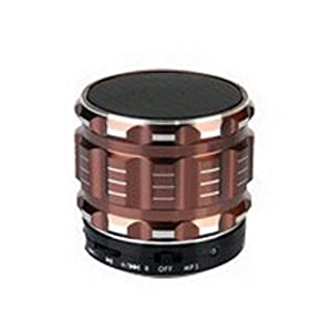Aolyty Mini Portable Wireless Bluetooth 3.0 Speakers Metal Steel Stereo Speaker Hands Free with FM Radio Support TF Card for Smartphone/Laptop/Tablets/MP3 Player Brown