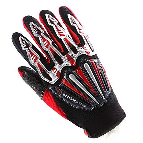 Motocross Motorcycle BMX MX ATV Dirt Bike Skeleton Racing Cycling Gloves Red