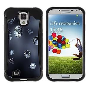 LASTONE PHONE CASE / Suave Silicona Caso Carcasa de Caucho Funda para Samsung Galaxy S4 I9500 / Diamond Blue Rain Jewel Bling Grey Autumn Nature