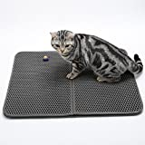 Smdoxi Pet Food and Water Bowl Feeding Mat for Dogs and Cat Double-Layer Honeycomb Placemat (Gray)