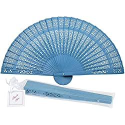 "Quasimoon PaperLanternStore.com 8"" Turquoise Chinese Folding Wood Panel Hand Fan w/White Organza Bag for Weddings"