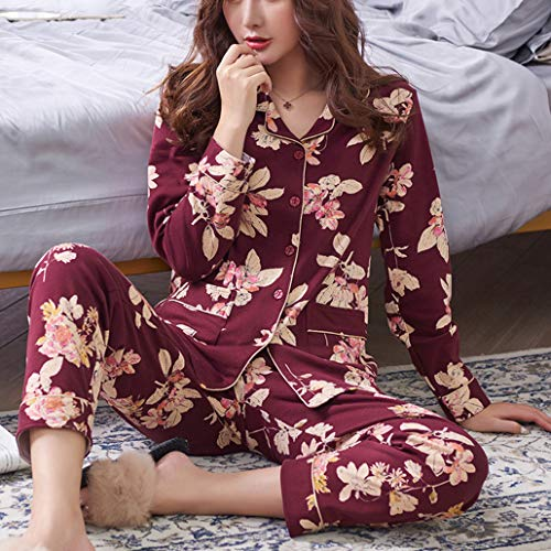 Confort Ropa Pijamas Impresión Regalo Loungewear Pjs Red Dormir Otoño Conjunto Lujo Manga De Primavera Algodón Señoras Larga Moda wtqUOPx