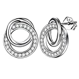 ZENI 925 Sterling Silver Stud Earrings for Women Girl Timeless Sweet Love Interlocking Circles Cubic Zirconia Hypoallergenic Jewelry with Gift Box
